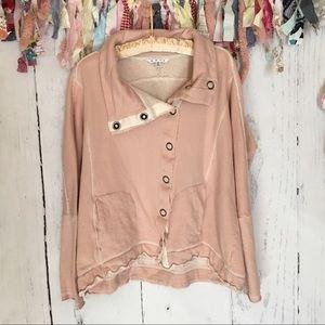 CAbi French Terry Pink Sweatshirt Jacket Medium
